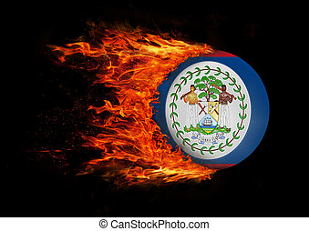 Flag with a trail of fire - Belize
