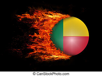 Flag with a trail of fire - Benin