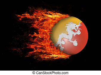 Flag with a trail of fire - Bhutan