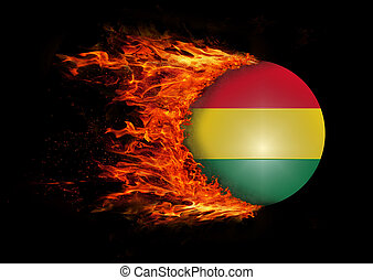 Flag with a trail of fire - Bolivia