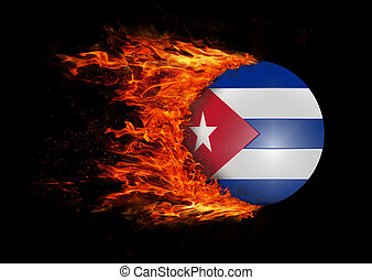 Flag with a trail of fire - Cuba