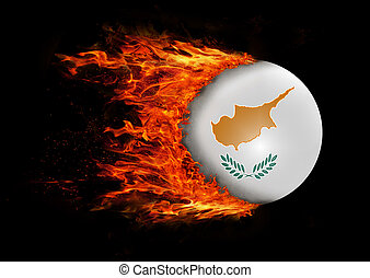 Flag with a trail of fire - Cyprus