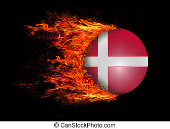 Flag with a trail of fire - Denmark