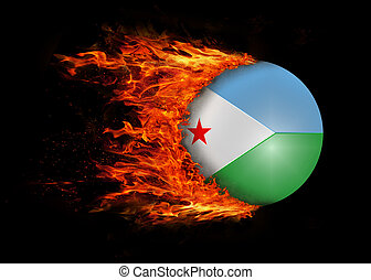Flag with a trail of fire - Djibouti