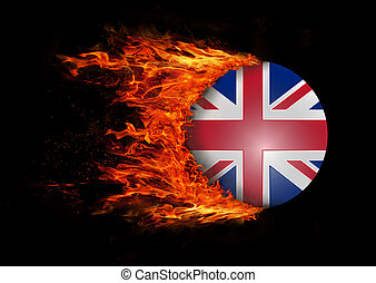 Flag with a trail of fire - United Kingdom