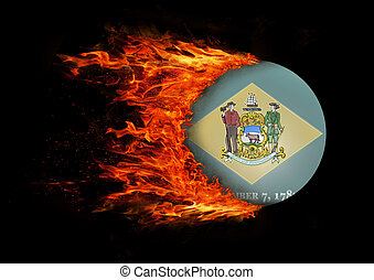 US state flag with a trail of fire - Delaware