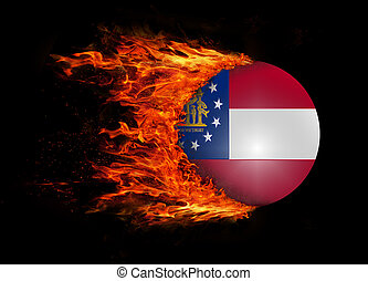 US state flag with a trail of fire - Georgia - Concept of...