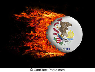 US state flag with a trail of fire - Illinois