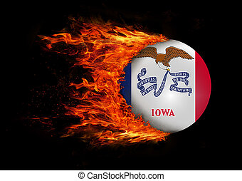US state flag with a trail of fire - Iowa