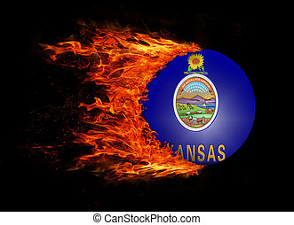 US state flag with a trail of fire - Kansas