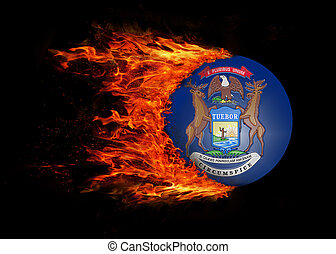 US state flag with a trail of fire - Michigan