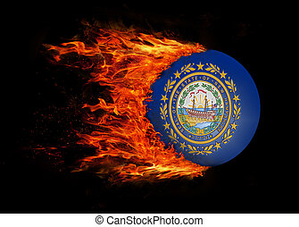 US state flag with a trail of fire - New Hampshire