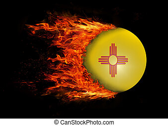 US state flag with a trail of fire - New Mexico