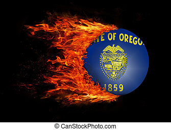 US state flag with a trail of fire - Oregon