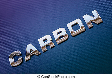"""Concept of sport, speed, racing. Word """"carbon"""" on carbon fiber background."""