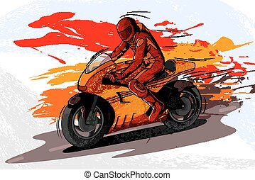 Concept of sportsman doing Motor Sports. Vector illustration