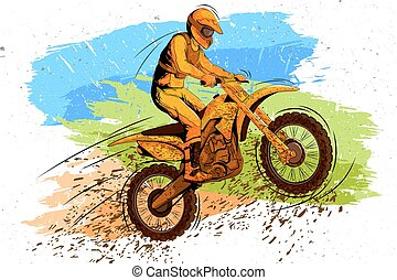 Concept of sportsman doing Motorcross. Vector illustration