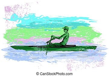 Concept of sportsman Rowing Canoe or Kayak