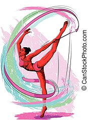 Concept of sportswoman doing Rhythmic Gymnastic. Vector...