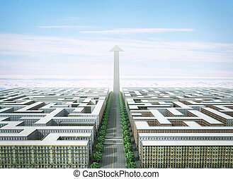 Concept of straight way. Clear vision leadership solutions and success concept. Highway through city in form of labyrinth. A maze of houses. 3d illustration