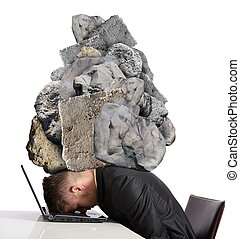 Stress at work - Concept of Stress at work with rocks above...