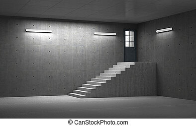 Concept of success. Concrete room with staircase leading to the closed door with light. 3d illustration
