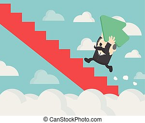 Concept of success, Successful businessman holding a green arrow up the stairs.