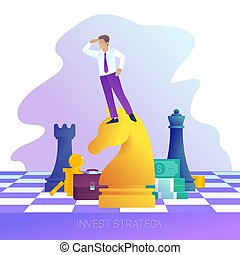 Concept of successful business strategy. Businessman on horse chess piece looking for success, opportunities.