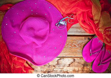 Concept of summer accessories