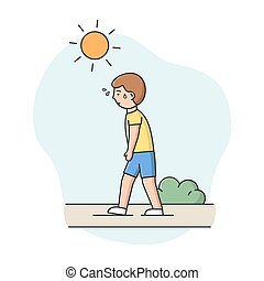 Concept Of Summer Hot Period. Man Weary From Heat Is Walking...