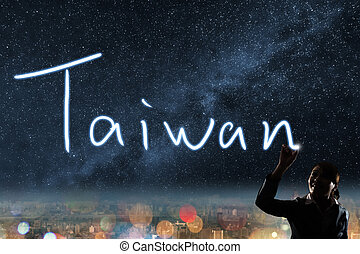 Concept of Taiwan, silhouette asian business woman light...