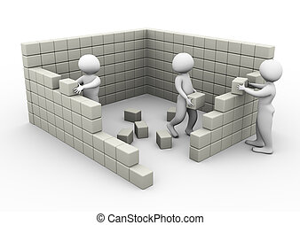 3d men constructing wall with the help of cubes/blocks.