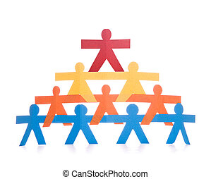 Concept of teamwork, colorful paper dolls chain on white background