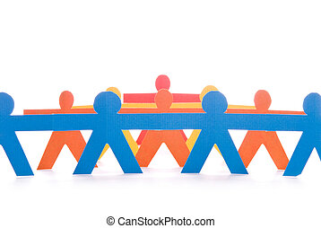 Concept of teamwork, colorful paper dolls on white background