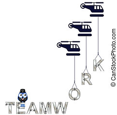 Concept of teamwork with helicopters isolated on white...