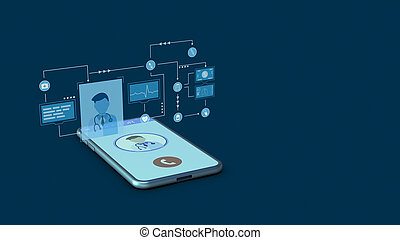 concept of telemedicine, smartphone app, first aid, online ...