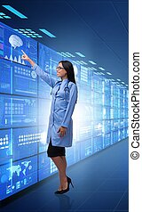 Concept of telemedicine with female doctor
