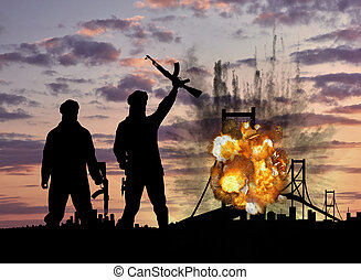 Concept of terrorism and acts of terrorism. Silhouette of terrorists and blow up the bridge at sunset