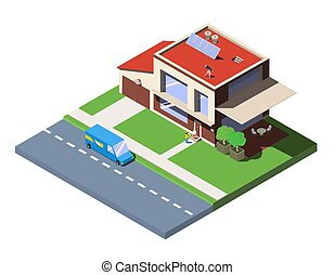 Concept of the delivery service. Vector isometric Illustration of fast shipping