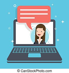 Concept of the marketing proposal. Businesswoman or manager speaks from the laptop screen. Speech bubble for your text. Flat vector illustration.