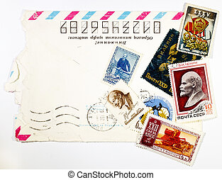 concept of the old Soviet envelopes and antique stamps