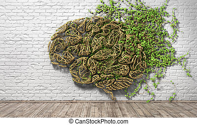 Concept of thinking. The green plant in form of human brain...