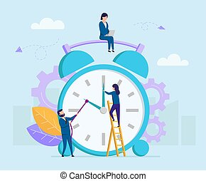 Concept Of Time Budget. Tiny Business People Trying To Turn The Clock By Hands And To Stop The Time On A Big Alarm Clock. Time Is Money Metaphor. Cartoon Colorful Vector Illustration In Flat Style