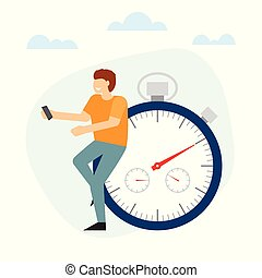 Man is standing with near the stopwatch leaning at it.