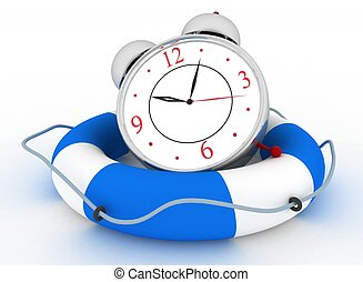 Concept of time to be Safe. Alarm clock with Life Buoy