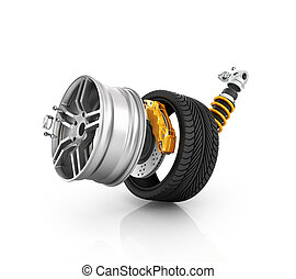 Concept of tire service. Wheels, Rims , brake pads and discs. CAR PARTS. Isolated on white background High resolution 3d render.