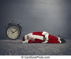 Santa Claus asleep - Concept of tired Santa Claus asleep ...