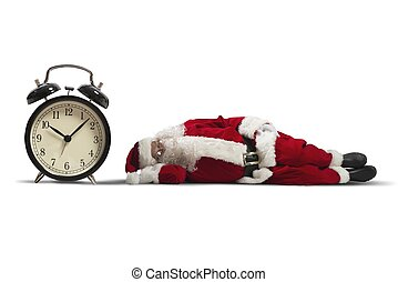 Santa Claus asleep - Concept of tired Santa Claus asleep ...