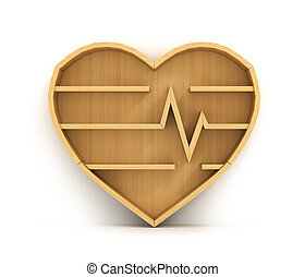Concept of training. Empty bookshelf in form of heart. Science about health. Medicine. A human have no knowledge.