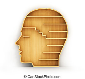 Concept of training. Empty bookshelf in form of man head. Science about human. Psychology. A human have no knowledge.